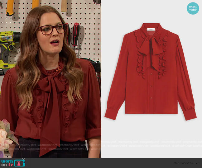 Lavalliere Blouse by Celine worn by Drew Barrymore  on The Drew Barrymore Show
