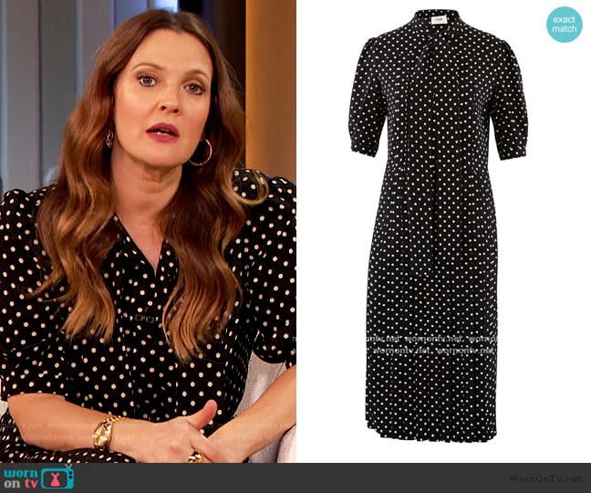Polka-dot printed silk ascot tie pleated midi dress by Celine worn by Drew Barrymore  on The Drew Barrymore Show