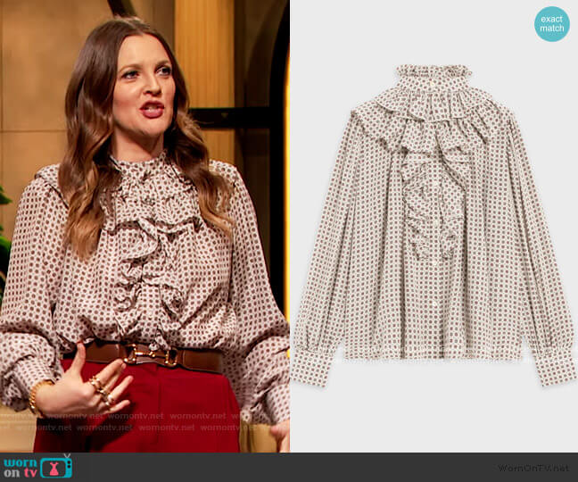 Romantic Blouse by Celine worn by Drew Barrymore  on The Drew Barrymore Show