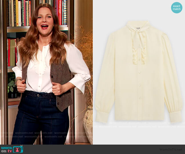 Blouse with Jabot by Celine worn by Drew Barrymore  on The Drew Barrymore Show