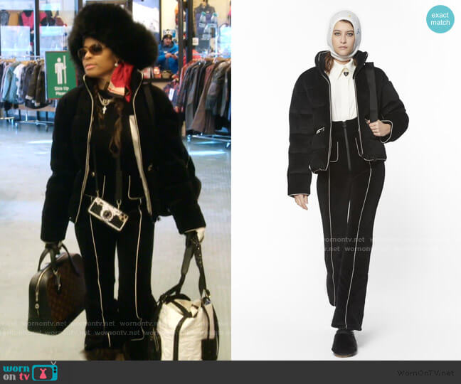 Black Velvet Blouson and Jumpsuit - 2018 Coco Neige Collection by Chanel worn by Mary Cosby  on The Real Housewives of Salt Lake City