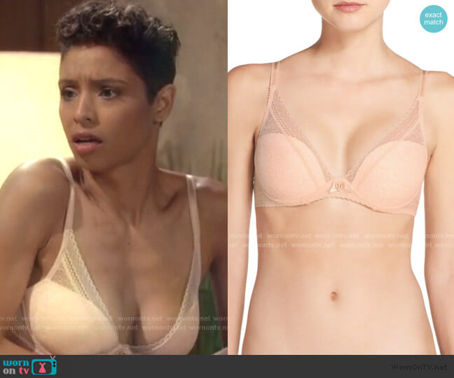 Festivite Lace Plunge Bra by Chantelle worn by Elena Dawson (Brytni Sarpy) on The Young & the Restless