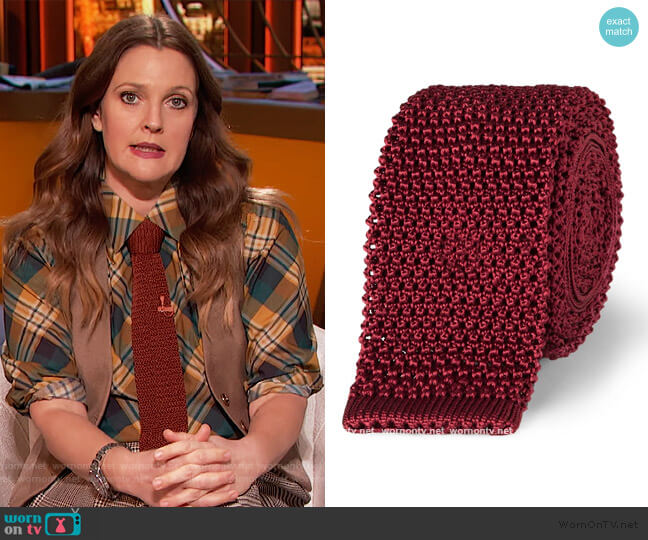 5cm Knitted Silk Tie by Charvet worn by Drew Barrymore  on The Drew Barrymore Show