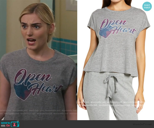 Open Heart Graphic Tee by Chasers worn by Taylor Otto (Meg Donnelly) on American Housewife