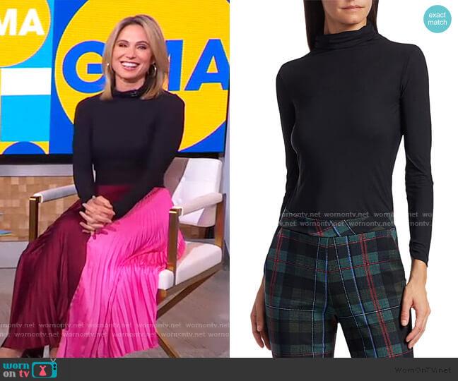 Lupis Mockneck Jersey Top by Chiara Boni La Petite Robe worn by Amy Robach  on Good Morning America