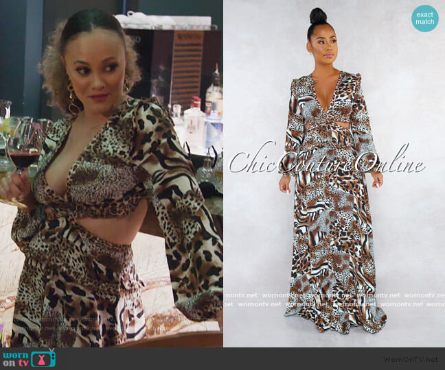 Goldie Leopard Print V-Neck Back Lace-Up Maxi Dress by Chic Couture worn by Ashley Darby  on The Real Housewives of Potomac