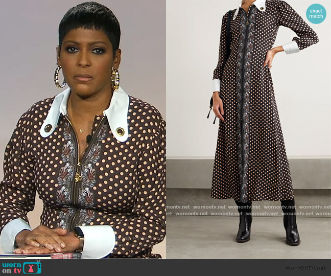 Embellished silk-trimmed printed crepe maxi dress by Chloe worn by Tamron Hall  on Tamron Hall Show