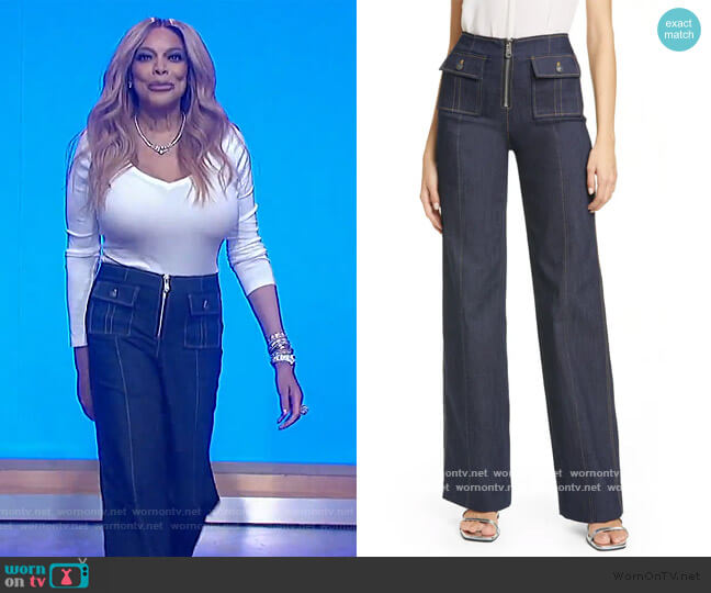 Azure Wide Leg Jeans by Cinq a Sept worn by Wendy Williams  on The Wendy Williams Show
