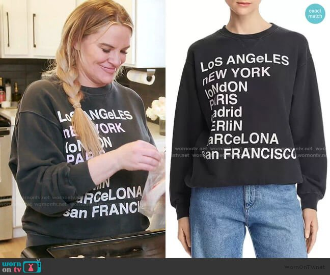 City Love Sweatshirt by Anine Bing worn by Heather Gay  on The Real Housewives of Salt Lake City