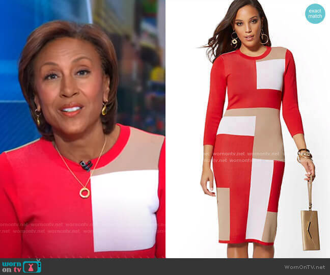 Colorblock Sweater Sheath Dress - 7th Avenue by New York & Company worn by Robin Roberts  on Good Morning America