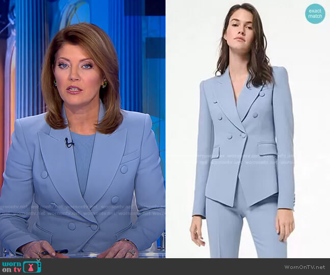Crepe Double-Breasted Blazer by Michael Kors worn by Norah O'Donnell  on CBS Evening News