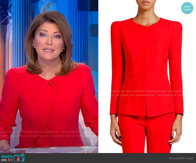 Crewneck Pleated Cady Jacket by Giorgio Armani worn by Norah O'Donnell  on CBS Evening News
