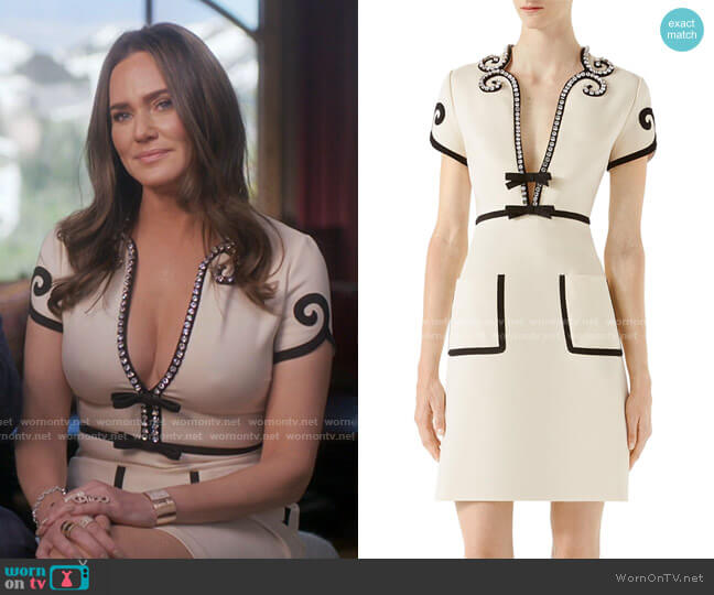 Crystal-Trim Jersey V-Neck Dress by Gucci worn by Meredith Marks  on The Real Housewives of Salt Lake City