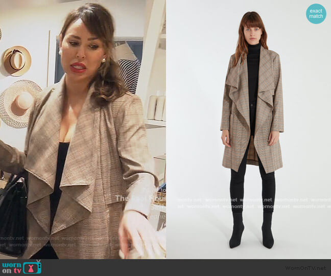Berlin Drape Front Trench Coat by Cupcakes and Cashmere worn by Kelly Dodd  on The Real Housewives of Orange County