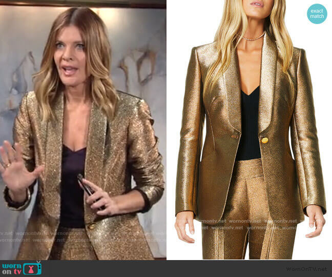 Dahlia Metallic Blazer by Ramy Brook worn by Phyllis Summers (Michelle Stafford) on The Young & the Restless