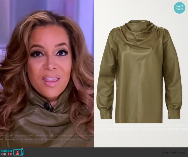 Bilbi draped leather blouse by Dodo Bar Or worn by Sunny Hostin  on The View