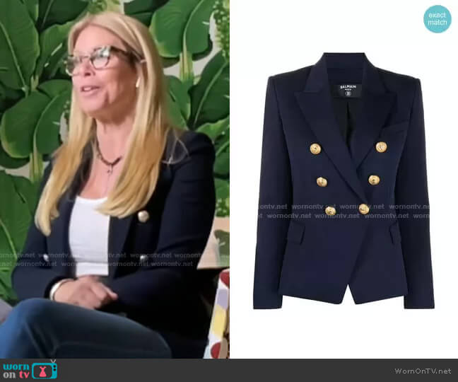 Double-Freasted Fitted Blazer by Balmain worn by Jill Martin  on Today