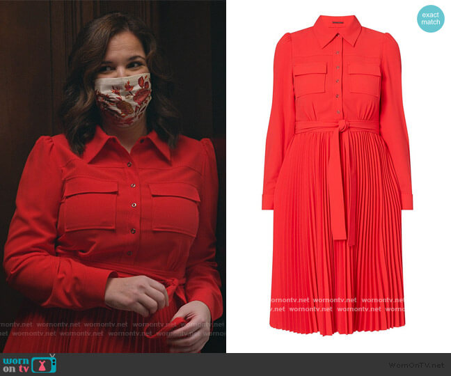 Ere Pleated Shirtdress by Elie Tahari worn by Sara Castillo (Lindsay Mendez) on All Rise