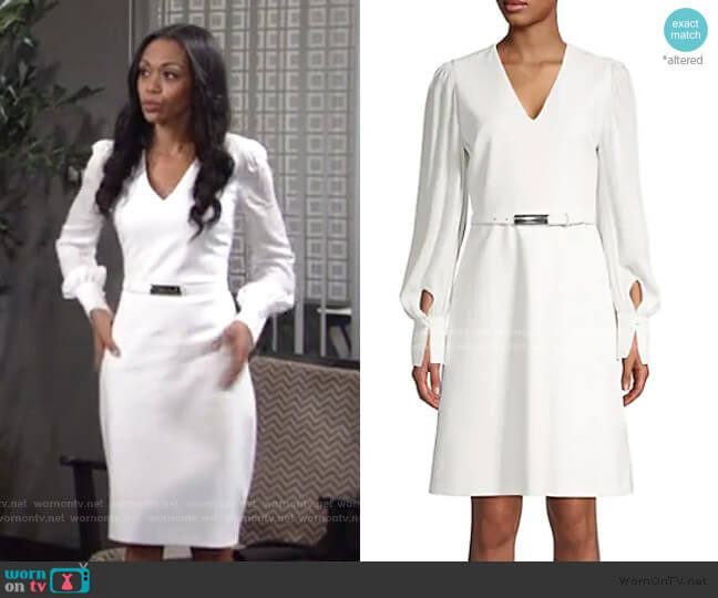 Hale Belted Dress by Elie Tahari worn by Amanda Sinclair (Mishael Morgan) on The Young & the Restless