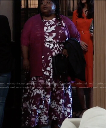 Epiphany's purple floral maxi dress on General Hospital