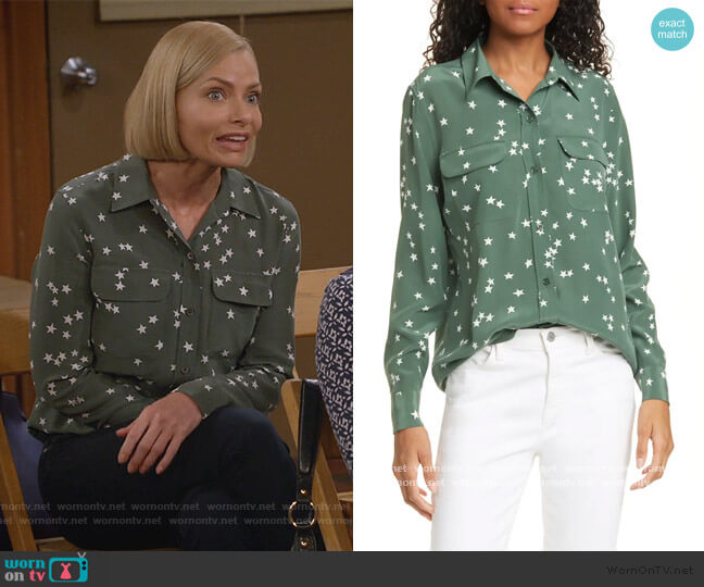 Starry Night Silk Shirt by Equipment worn by Jill Kendall (Jaime Pressly) on Mom