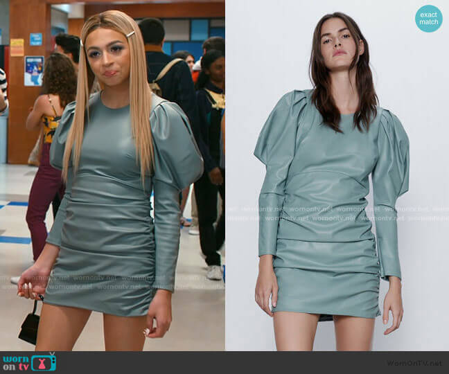 Faux Leather Dress by Zara worn by Lexi (Josie Totah) on Saved By The Bell