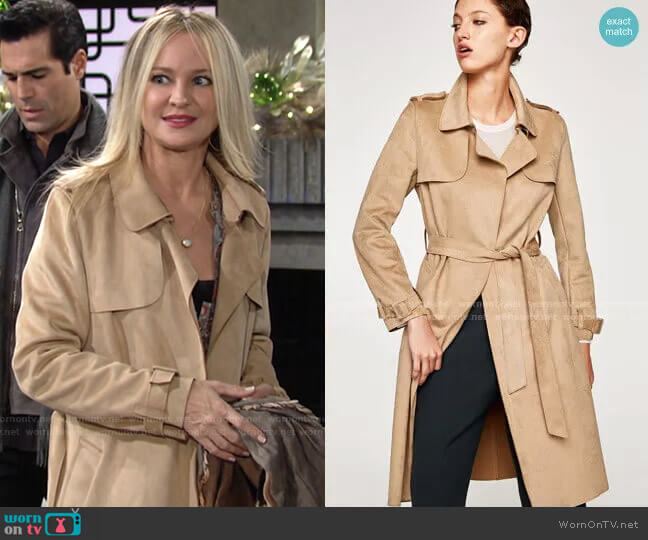 Faux Suede Trench Coat by Zara worn by Sharon Collins (Sharon Case) on The Young & the Restless