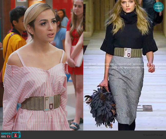 Wide Logo Belt by Fendi worn by Lexi (Josie Totah) on Saved By The Bell