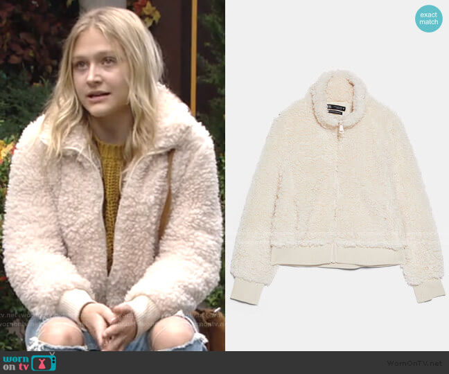 Fleece Bomber by Zara worn by Faith Newman (Alyvia Alyn Lind) on The Young & the Restless