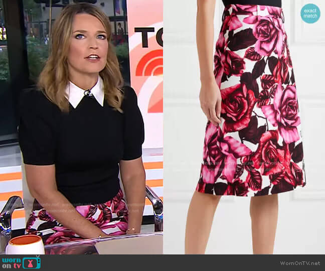 Floral-Print Skirt by Prada worn by Savannah Guthrie  on Today