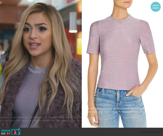Metallic Short-Sleeve Top by Fore worn by Lexi (Josie Totah) on Saved By The Bell