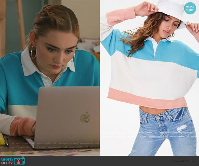 Rugby Colorblock Shirt by Forever 21 worn by Taylor Otto (Meg Donnelly) on American Housewife