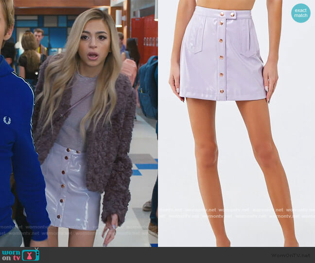 Faux Patent Leather Mini Skirt by Forever 21 worn by Lexi (Josie Totah) on Saved By The Bell