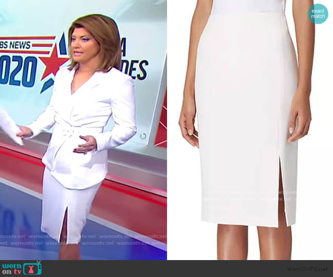 Front-Slit Crepe Pencil Skirt by Tahari ASL worn by Norah O'Donnell  on CBS Evening News