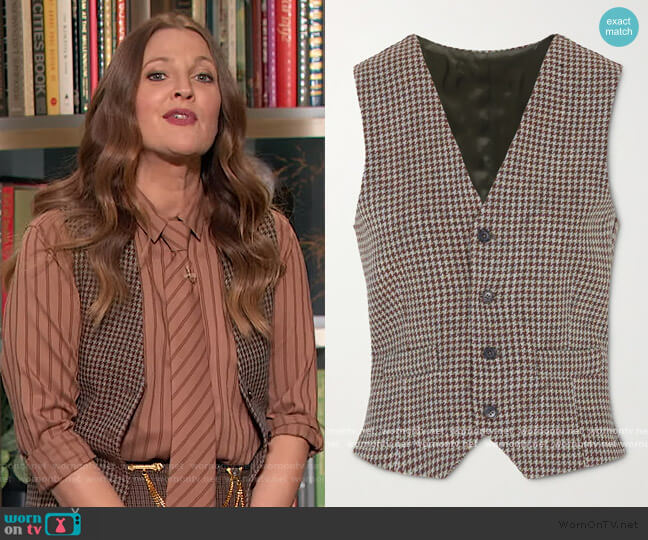 The Andrea houndstooth wool vest by Giuliva Heritage worn by Drew Barrymore  on The Drew Barrymore Show