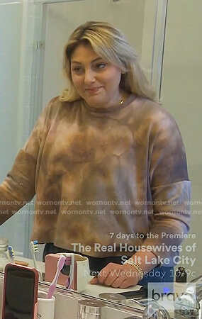 Gina's brown tie dye sweatshirt on The Real Housewives of Orange County