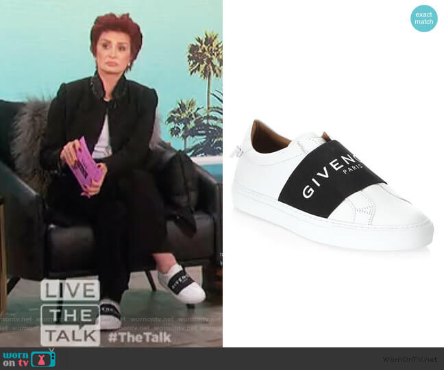 Urban Street Logo Strap Leather Sneakers by Givenchy worn by Sharon Osbourne  on The Talk