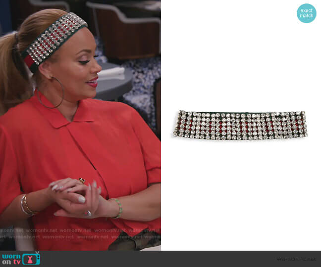 Crystal-Embellished Web Headband by Gucci worn by Gizelle Bryant  on The Real Housewives of Potomac