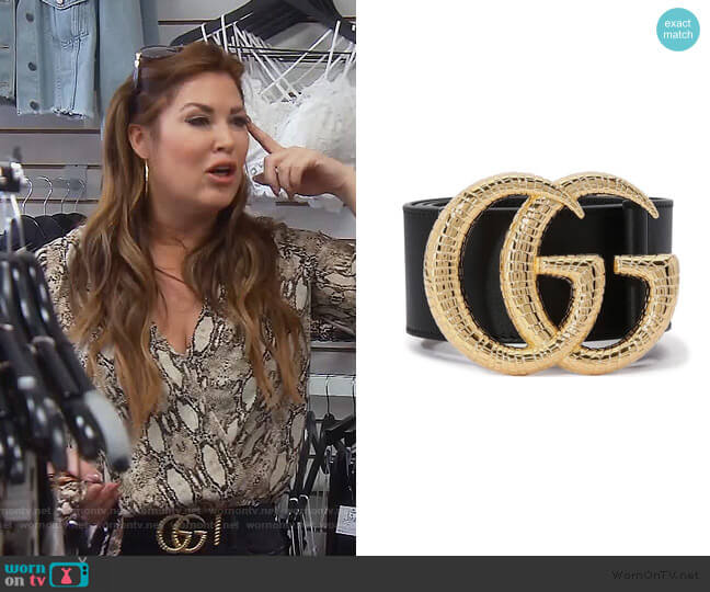 GG Marmont belt by Gucci worn by Emily Simpson  on The Real Housewives of Orange County