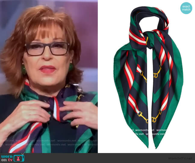 Horsebit-print silk scarf by Gucci worn by Joy Behar  on The View