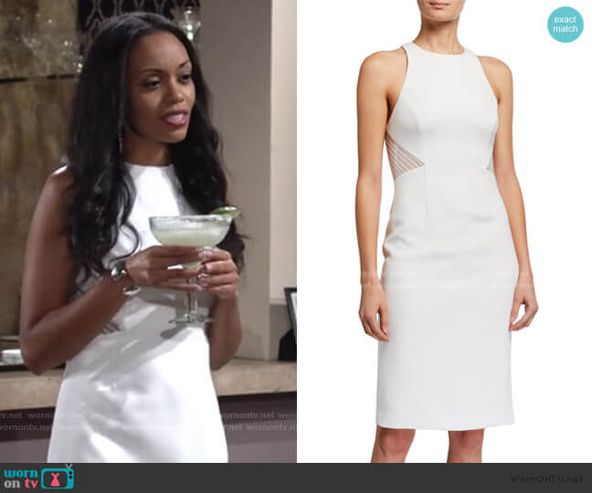 Embroidered Back Heavy Crepe Halter Dress by Halston worn by Amanda Sinclair (Mishael Morgan) on The Young & the Restless