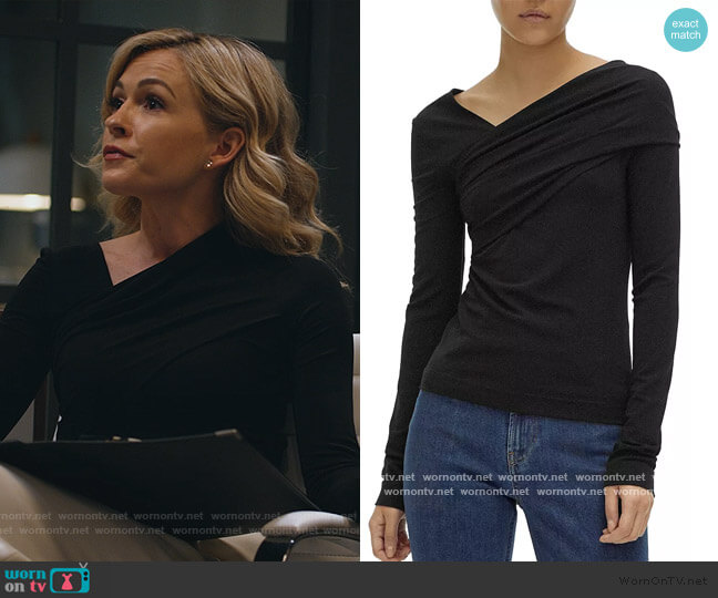 Asymmetrical-Neckline Top by Helmut Lang worn by Amy Quinn (Lindsey Gort) on All Rise