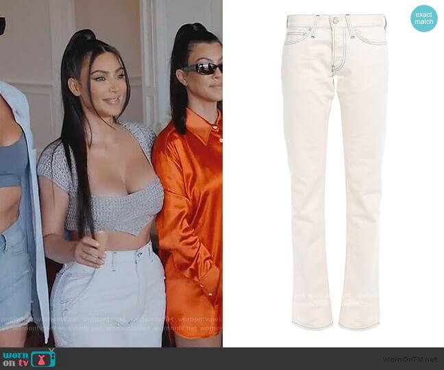 Low-rise slim-leg jeans by Helmut Lang worn by Kim Kardashian  on Keeping Up with the Kardashians