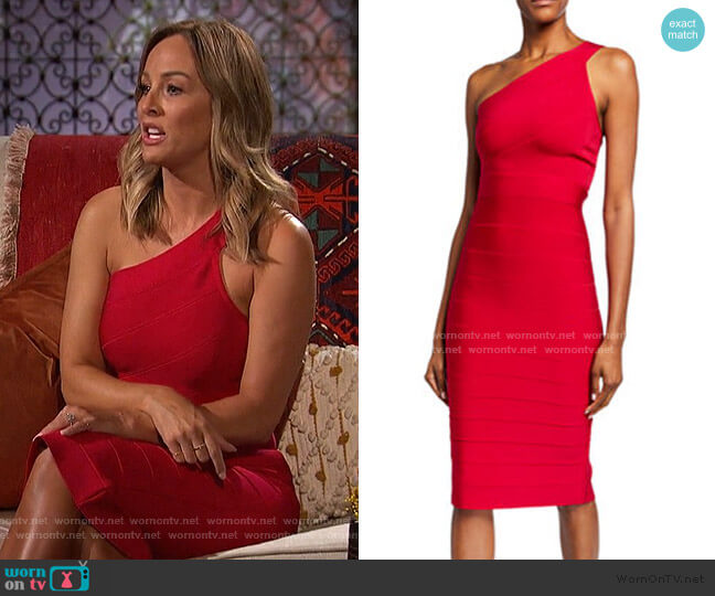 Icon One-Shoulder Midi Sheath Dress by Herve Leger worn by Clare Crawley  on The Bachelorette