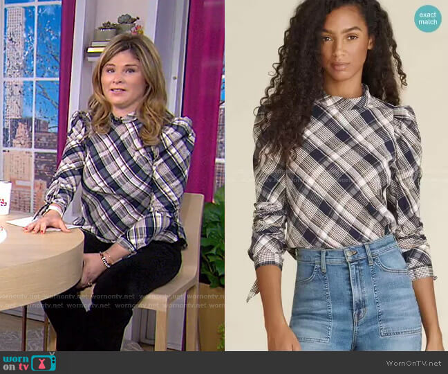 Isabel Plaid Top by Veronica Beard worn by Jenna Bush Hager  on Today