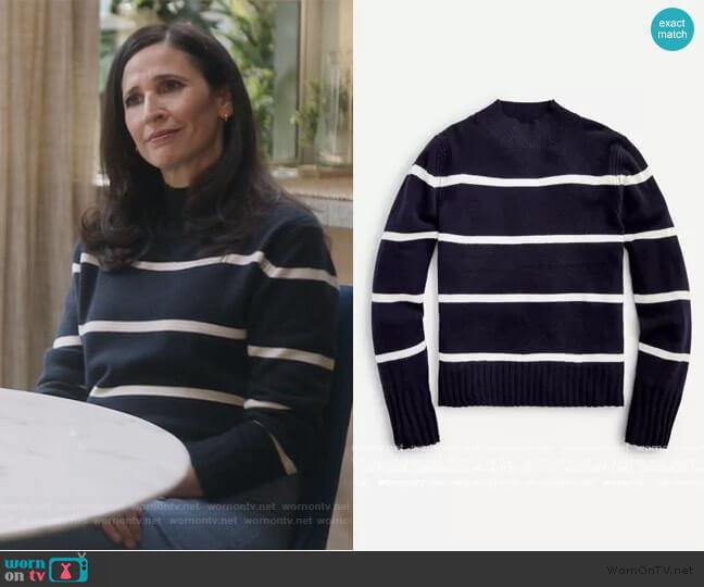 Cashmere mockneck sweater in stripe by J. Crew worn by Delia (Michaela Watkins) on The Unicorn