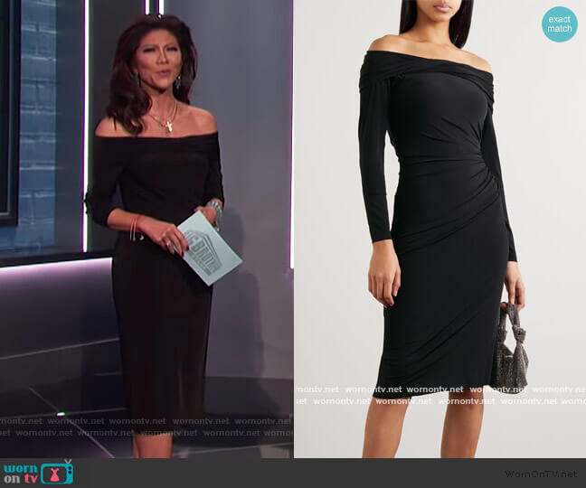 Off-the-shoulder ruched stretch-jersey dress by Jason Wu worn by Julie Chen  on Big Brother
