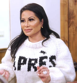 Jen's white Apres print knit sweater on The Real Housewives of Salt Lake City