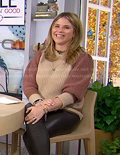 Jenna's brown and beige colorblock sweater on Today
