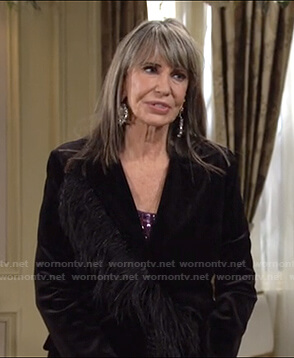 Jill's black feather-trim blazer on The Young and the Restless